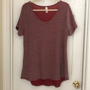 Red sparkly lularoe classic tee